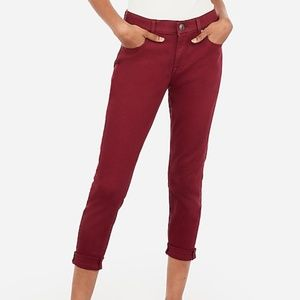 Express Mid Rise Cropped Legging Maroon Jeans